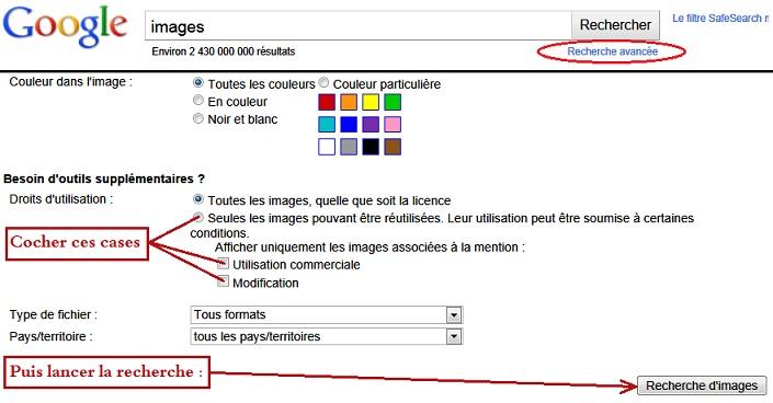 google, parametres pour obtenir des images-libres libres de droits