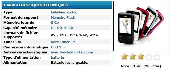 Balladeur mp3 mp4 de logicom D-JiX M450