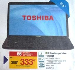 portable 15 pouces Toshiba Carrefour