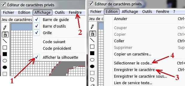 eudcedit : Editeur de caractères personnalisés sous Windows